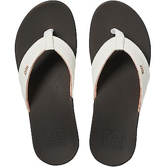 Reef Womens Ortho-Bounce Coast Pool Beach Flip Flop Thongs Sandals - Brown/White