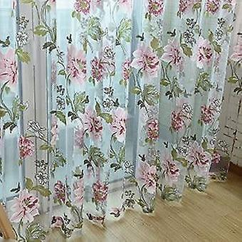 Stampa floreale moderna Vedere attraverso le tende della finestra per cucina bagno porta partizione