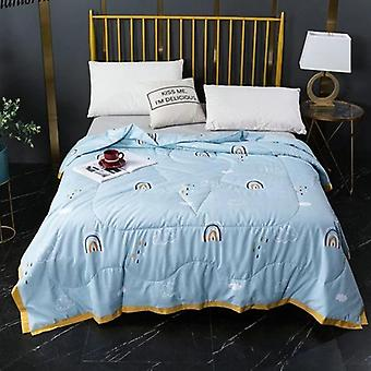 Leaf Print Plain Dyed Pastoral Duvet Cover Set