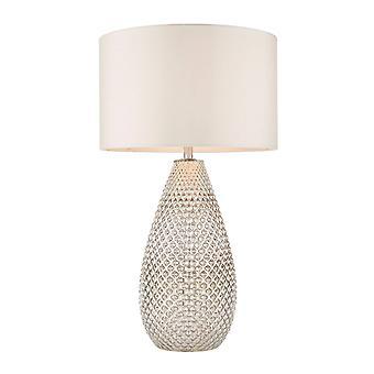 Endon Livia - 1 lámpara de mesa ligera plata cristal de mercurio, vintage blanco falso seda, E27