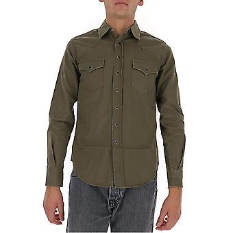 Saint Laurent 629966y596v3253 Männer's grüne Baumwollhemd