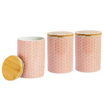 Nicola Frühling 3 Stück geometrische gemusterte Keks Fass Set - große Porzellan Küche Lagerung - Koralle - 14,5 cm