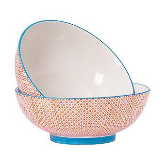 Nicola Spring 2 Piece Hand-Printed Fruit Bowl Set - Japanese Style Porcelain Pasta Salad Serving Bowls - Orange - 31.5cm