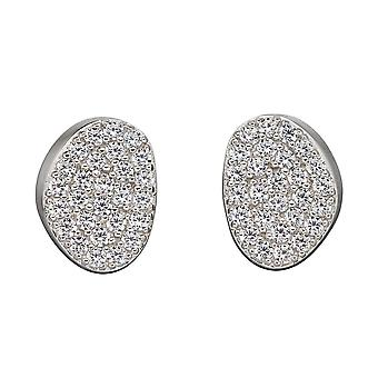 Fiorelli Silver Organic Shape Full Pave Stud Earrings E5880C