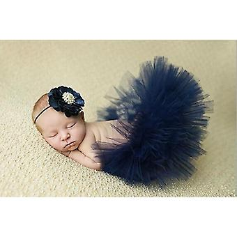 Saia tutu recém-nascida com bandana de flor combinando deslumbrante adereço fotográfico recém-nascido