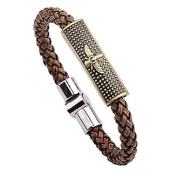 Retro Zinc Alloy Eagle Wax Rope Weaving Wristband Bracelet for Men