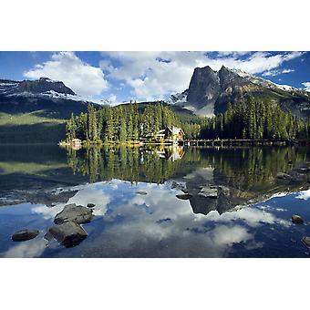 Изумрудного озера и PosterPrint Изумрудного озера Lodge Национальный парк Йохо Британская Колумбия Канада