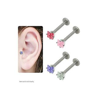 Jeweled labret tragus ohrring