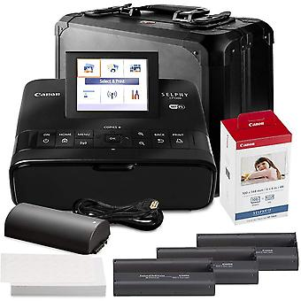 Canon selphy cp1300 compact photo printer (black) with wifi and accessory bundle w/ canon color ink and paper set + case ps46899