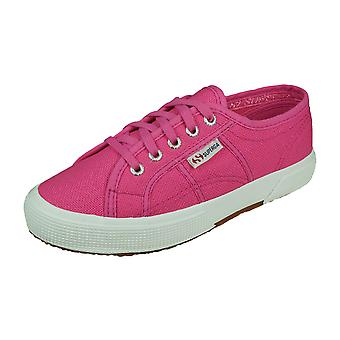 Superga 2750 JCOT Classic Girls Lace up Canvas Trainers - Pink