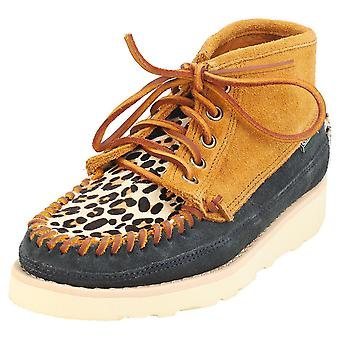 Sebago Cayuga Mid Womens Casual Boots in Navy Cognac Leopard