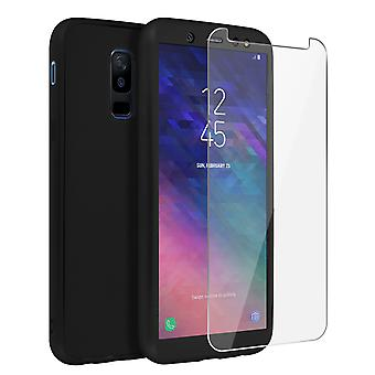Back and front silicone case + Tempered glass film for Galaxy A6 Plus - Black