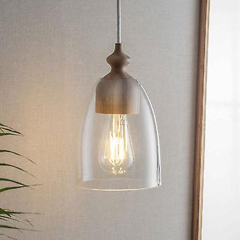 Garden Trading Bloomsbury Small Pendant Light In Clear Glass & Ash Wood