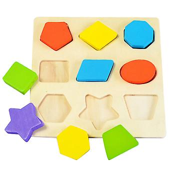 Homemiyn Children's Educational Wooden Color Geometric Figure Puzzle Play Board