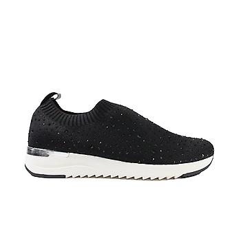 Caprice 24700-035 Black Knitted Fabric Womens Pull On Trainers