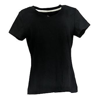 Isaac Mizrahi Live! Women's Top Essentials V-Neck T-Shirt Black A307536