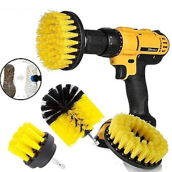 Electric Drill Brush Kit- Plastic Round, Cleaning Brush For Carpet Glass, Car