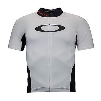 Oakley Jawbreaker Road Jersey Cycling Zip Up T-Shirt White Mens Top 433760 02E
