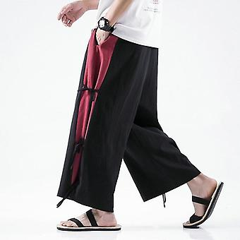 Cotton Linen Wide-leg Pants Men Chinese Style Casual Jogging Large Spring High