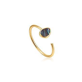 טבעת מתכווננת גאות ושפל זהב מבריקה R027-02G