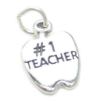 Number 1 Teacher Apple Sterling Silver Charm .925 X 1 Teaching Charms - 3734