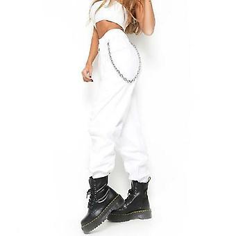 Women Casual High Waist Cargo Pants Loose Pockets Elastic Waist