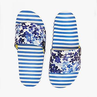 Joules poolside señoras slide sandalias margaritas azules