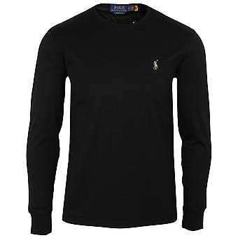 Ralph lauren men's black pima long sleeve t-shirt