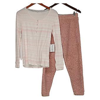 Bearpaw Women's Pajama Set Stretch Henley & Faux Sherpa Jogger Pink 726404