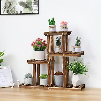 4 Tiers Small Wood Succulent Pots Garden Plant Stand Display Rack Holder Balcony
