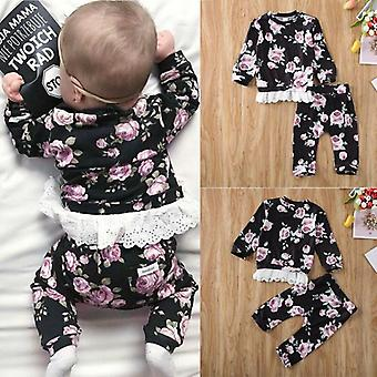Baby Kids Lace Long-sleeved Tops Trousers