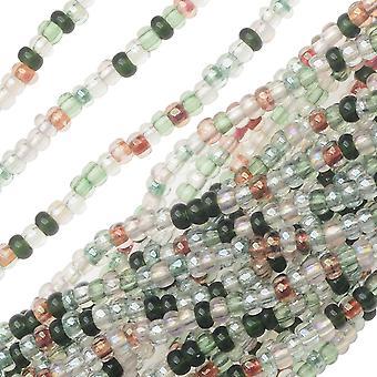 חרוזי זרעי זכוכית צ'כיים, סיבוב 11/0, 1 האנק, תערובת שטיחי קיר של טורמלין