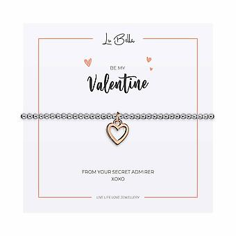 Be My Valentine - 17.5cm Sentiments Bracelet - Silver - Jewellery Gifts for Women from Lu Bella