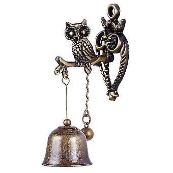 フクロウレトロスタイルミニ動物ドアベル金属鉄の鐘風チャイム装飾品dt5058