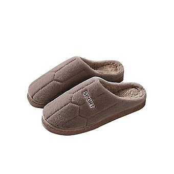 Coffee 44-45 thick comfortable soft warm football pattern couple slippers-male homi2556
