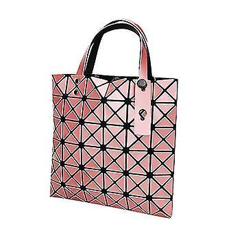Borsa a mano tote geometrica olografica per donna (rosa)