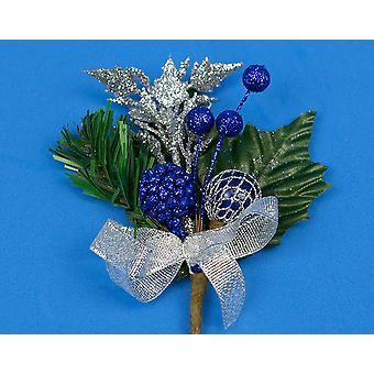 6 kerst bloemschikken Picks met blauwe bessen & zilveren Trim