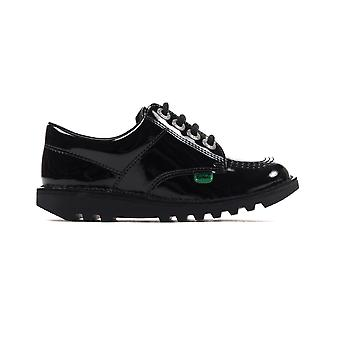 Kickers Kick Lo Classic Patent Leather Junior Kids Girls School Chaussure Noire