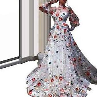ロングシアーネックレッドカーペット暴走ドレス