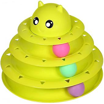 Cat Toy Roller Cat Toys 3 Level Towers Tracks With Six Colorful Ball(Green)