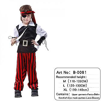 Children's Pirate Costume With Shoes, Hat And Belt For Boys And Girls Children's Clothing Pirates Of The Caribbean Captain Set-(b0081)