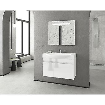 Set Mobili Senso , Colore Bianco in MDF, Ceramica, Vetro, Unita' Base con Lavabo: L85xP50xA50 cm
