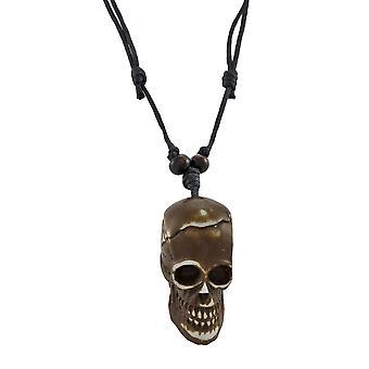 Schwarze Slider Schnur Halskette mit braun Totenkopf Anhänger