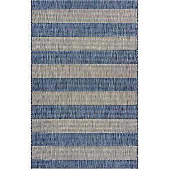 2' x 3' Navy Stripes Indoor Outdoor Scatter Rug