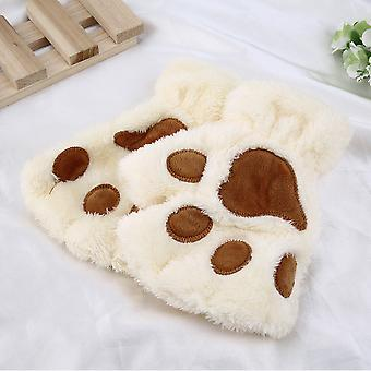 Cat's Paws Woman Cute Plush Half Finger Gloves Half Covered Gloves Mittens