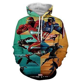 Homemiyn Heren Marvel Avengers Iron Man Captain America 3d Hooded Loose Casual Sweatshirt Jas