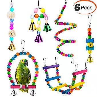Pet Parrot Toy 6 részes készlet-alkalmas Birdhouse dekoráció