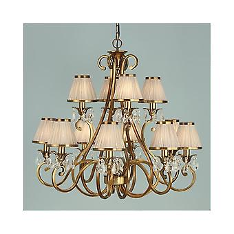Interiors 1900 Oksana Brass 12 Light Chandelier