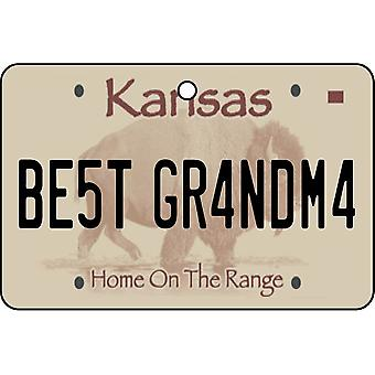 Kansas - Best Grandma License Plate Car Air Freshener