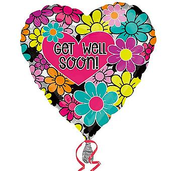 Amscan Floral Get Well Soon Foil Balloon
